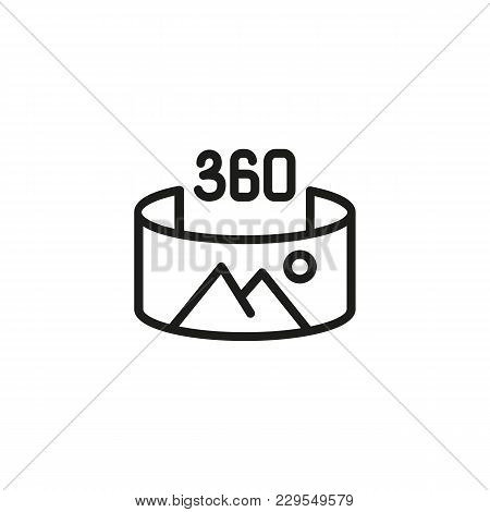 Icon Of 360 Degree Picture. Cyber Space, Nature, Three-dimensional. Virtual Reality Concept. Can Be