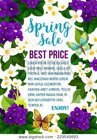 Spring Time Sale Poster Of Blooming Flowers For Seasonal Springtime Shopping Discount. Vector Best S