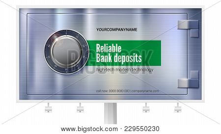Safety Deposit Box For Storing Money On Billboard. Safe Lock On Metal Surface With Texture. Realisti