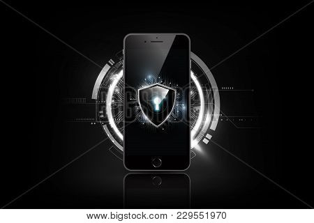 Realistic Smartphone Mockup And Keyhole Shield On Screen, Lock Shield With Security Cyber Technology