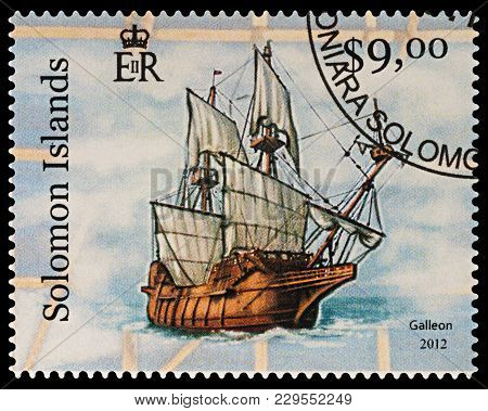 Moscow, Russia - March 04, 2018: A Stamp Printed In Solomon Islands Shows Ancient Sailing Ship - Gal