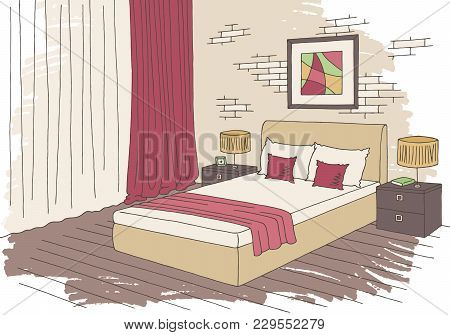 Bedroom Graphic Color Interior Sketch Illustration Vector
