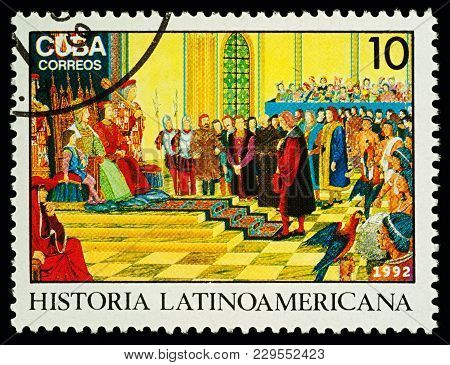 Moscow, Russia - March 04, 2018: A Stamp Printed In Cuba Shows Columbus Describes His Voyage To Ferd