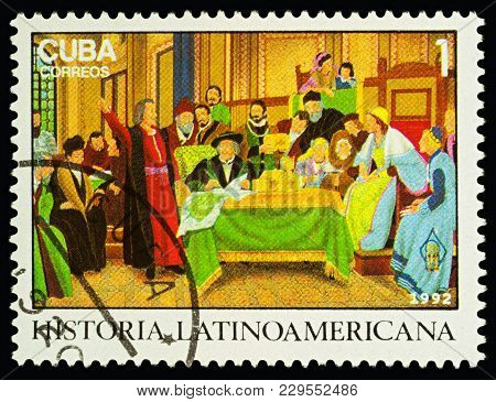 Moscow, Russia - March 05, 2018: A Stamp Printed In Cuba Shows Columbus At Rabida Monastery, Series