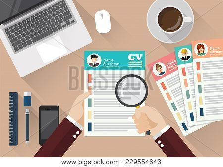 Hand Writing Curriculum Vitae Application Paper Sheet. Flat Style Vector Illustration