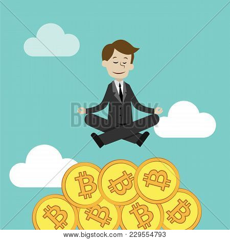 Businessman Sitting And Meditating.making Money. Vector Illustration