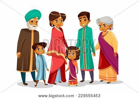 Vector Cartoon Indian Family Characters Set. Happy Hindu Senior Man, Woman, Parents Father And Mothe