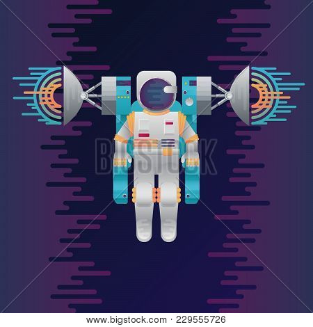 Vector Illustration Of Sci-fi Astronaut And Radar Dish Station With Sound Or Radio Wave In Space. Ab