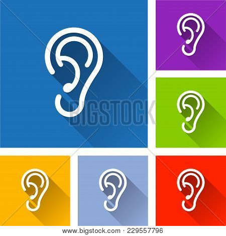 Illustration Of Ear Icons With Long Shadow