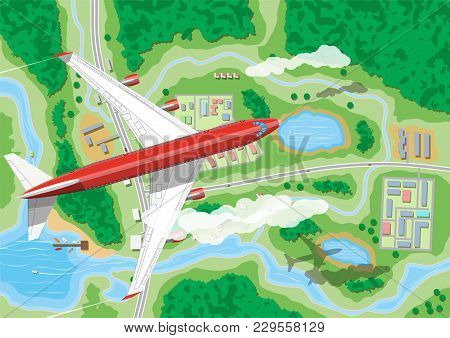 Airplane Flies Above Land With Houses With Car, Boats, Trees, Road, River, Forest, Lake And Clouds.
