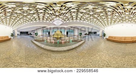 Minsk, Belarus - August 7, 2016: 360 Panorama Interior Guest Hall With Pyramid And Awesome Chandelie