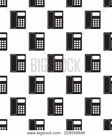 Office Phone Icon Vector Illustration. Telephone Flat Sign. Seamless On White Background.