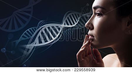 Young Sensual Woman With Vitiligo Disease In Dna Chains. Over Dark Blue Background.