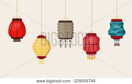 Chinese Lantern Vector Traditional China Culture Festival Celebration Asia Oriental Decoration Illus