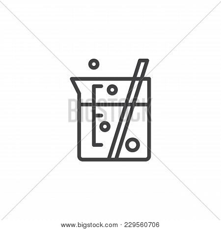 Laboratory Beaker Outline Icon. Linear Style Sign For Mobile Concept And Web Design. Chemical Experi