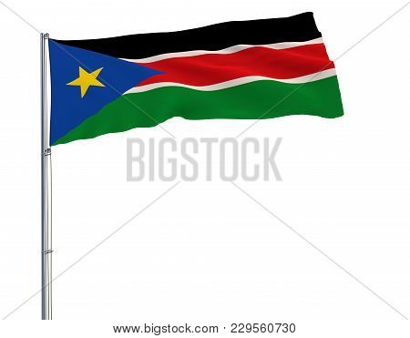 Flag Of South Sudan On The Flagpole Fluttering In The Wind On A White Background, 3d Rendering