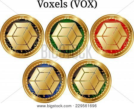 Set Of Physical Golden Coin Voxels (vox), Digital Cryptocurrency. Voxels (vox) Icon Set. Vector Illu