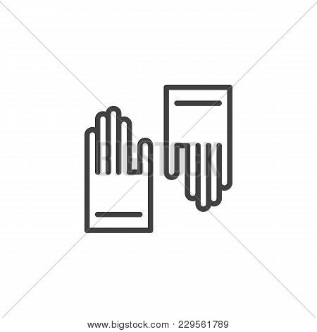 Rubber Gloves Outline Icon. Linear Style Sign For Mobile Concept And Web Design. Protective Medical