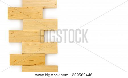 Wooden Bricks Isolated On White Background. Copy Space, Template.