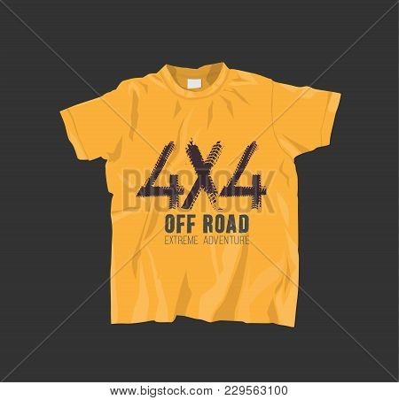 Yellow T-shirt With Off Road Lettering. Grunge Tire Track 4x4 Logotype. Vector Illustration Useful F