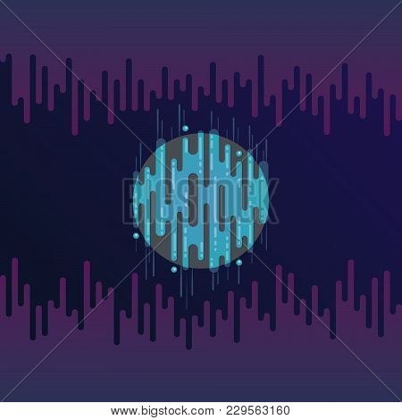 Vector Illustration Of Sci-fi Planet In Space With Sound Or Radio Wave. Abstract Digital Blue Planet