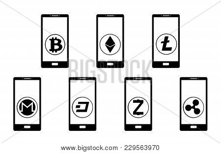 Crypt Coins In The Phone On A White Background,crypt Coins In The Phone Black And White, Vector Icon