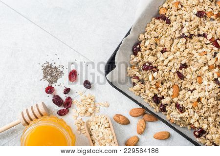 Homemade Granola Ingredients With Copy Space For Text. Oats, Nuts, Honey, Chia Seeds And Dry Fruit F