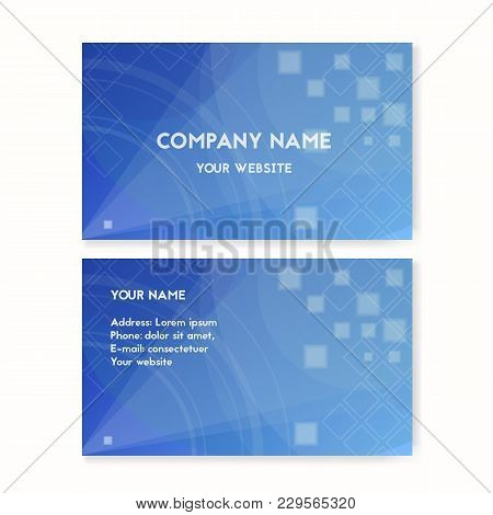 Business Card Blue. Clean Water Vector Illustration. The Concept Of Environmental Protection.