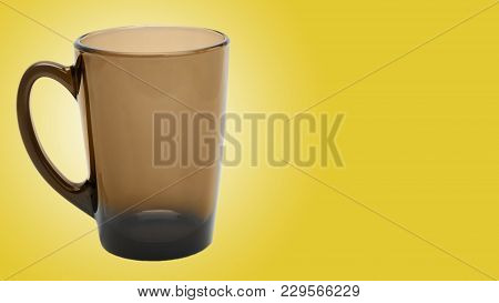 Empty Glass Coffee Latte Cup On Color Background