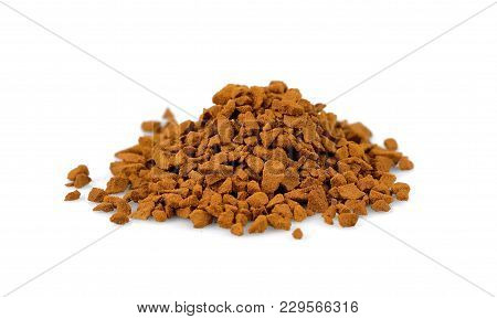 Instant Granulated Coffee Pile From Top On White Background