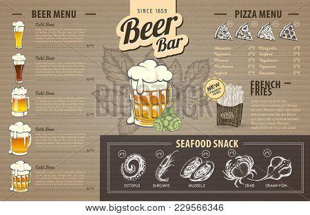 Vintage Beer Menu Design On Cardboard. Restaurant Menu