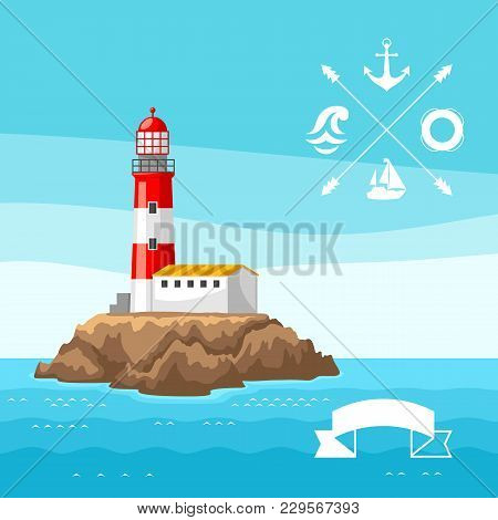 Illustration Of Lighthouse On Rocky Coast. Landscape With Ocean And Rocks. Travel Background.