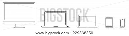 Mockup Gadget And Device Outline Icons Set On The White Background. Vector Illustration. Computer La