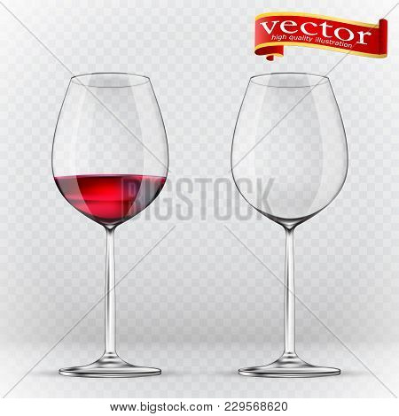 Wine Glass, Empty And With Red Wine, Transparent Vector Illustration. Transparency Wine Glass. Empty