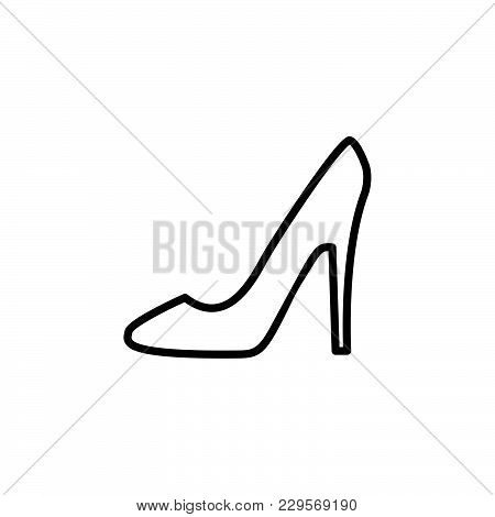Heel Shoes Icon. Vector Illustration Black On White Background