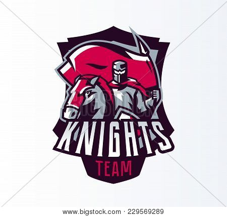 Emblem, Logo, Sticker, Knight With Flag On Horseback. Crusader, Swordsman, Warrior, Armor, Banner, S