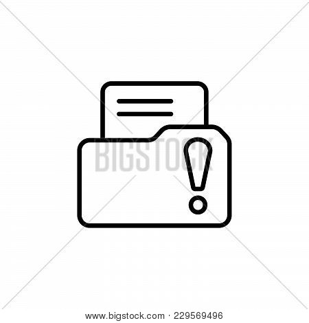 Isolated File Folder Icon With An Exclamation Sign