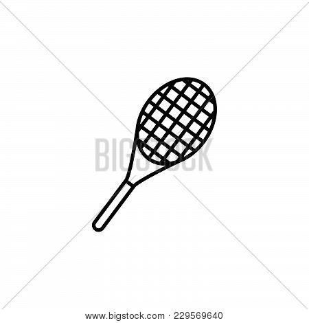 Tennis Racket Icon. Vector Illustration Black On White Background