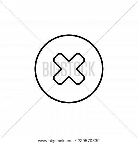 Delete Sign, Line Icon. Remove Black On White Background