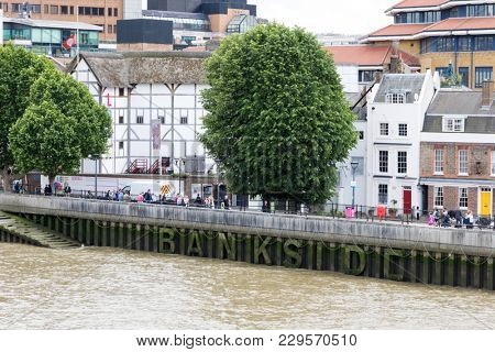 London, UK - 5th June 2017: The Globe Theatre on the river Thames in London. This is a replica of the original playhouse built by William Shakespeare for his acting company, which burned down in 1613