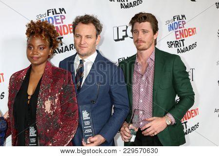 LOS ANGELES - MAR 3:  Dee Rees, Jason Clarke, Garrett Hedlund_ at the 2018 Film Independent Spirit Awards at the Beach on March 3, 2018 in Santa Monica, CA