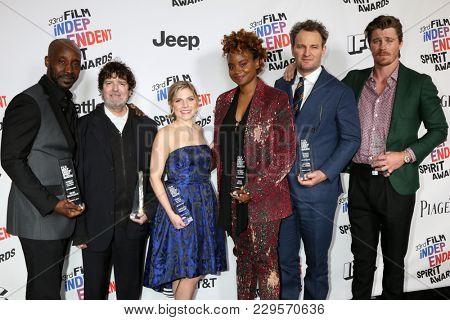 LOS ANGELES - MAR 3:  Rob Morgan, Billy Hopkins, Ashley Ingram, Dee Rees, Jason Clarke, Garrett Hedlund_ at the 2018 Film Independent Spirit Awards at the Beach on March 3, 2018 in Santa Monica, CA