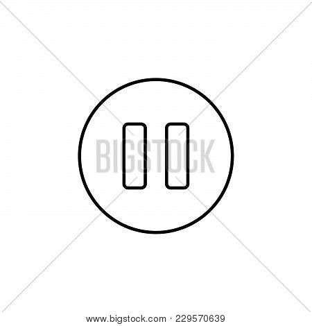 Pause Vector Line Icon Black On White Background
