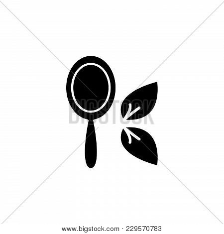 Hand Mirror Line Icon Black On White Background