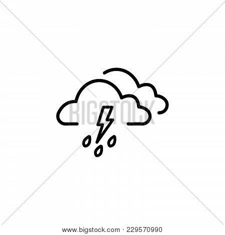 Cloud Thunderstorm Lightning Rain Icon Black On White Background