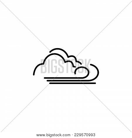 Cloudy And The Wind Icon Black On White Background