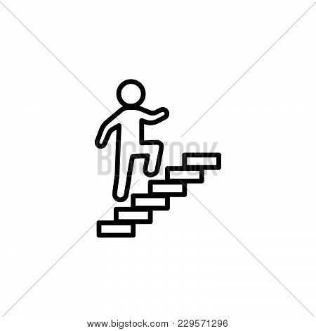 Walk Up Stairs Symbol Vector Illustration, Line Icon..