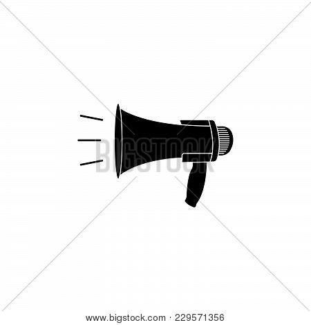 Megaphone, Loudspeaker Icon. Black On White Background