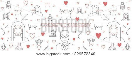 Line Infographics Plastic Surgery, Cosmetic Surgery Banner. Breast Augmentation Signs. Vector Sign F