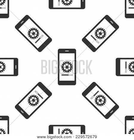 Smartphone Update Process With Gearbox Progress And Loading Bar Icon Seamless Pattern On White Backg